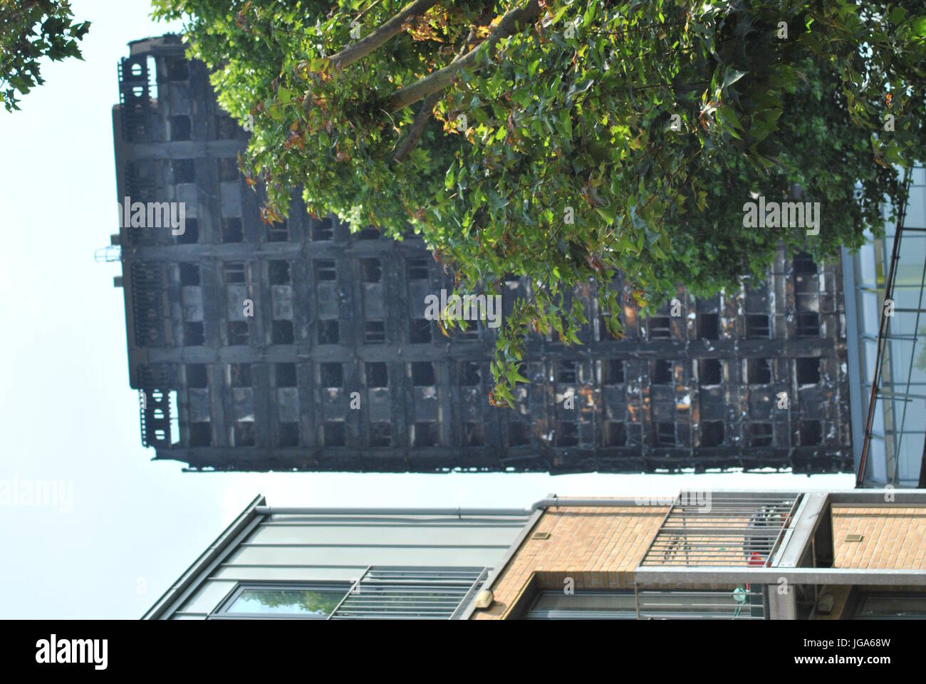 Grenfell Tower Fire Damaged photographed from Western Side View - Stock Image