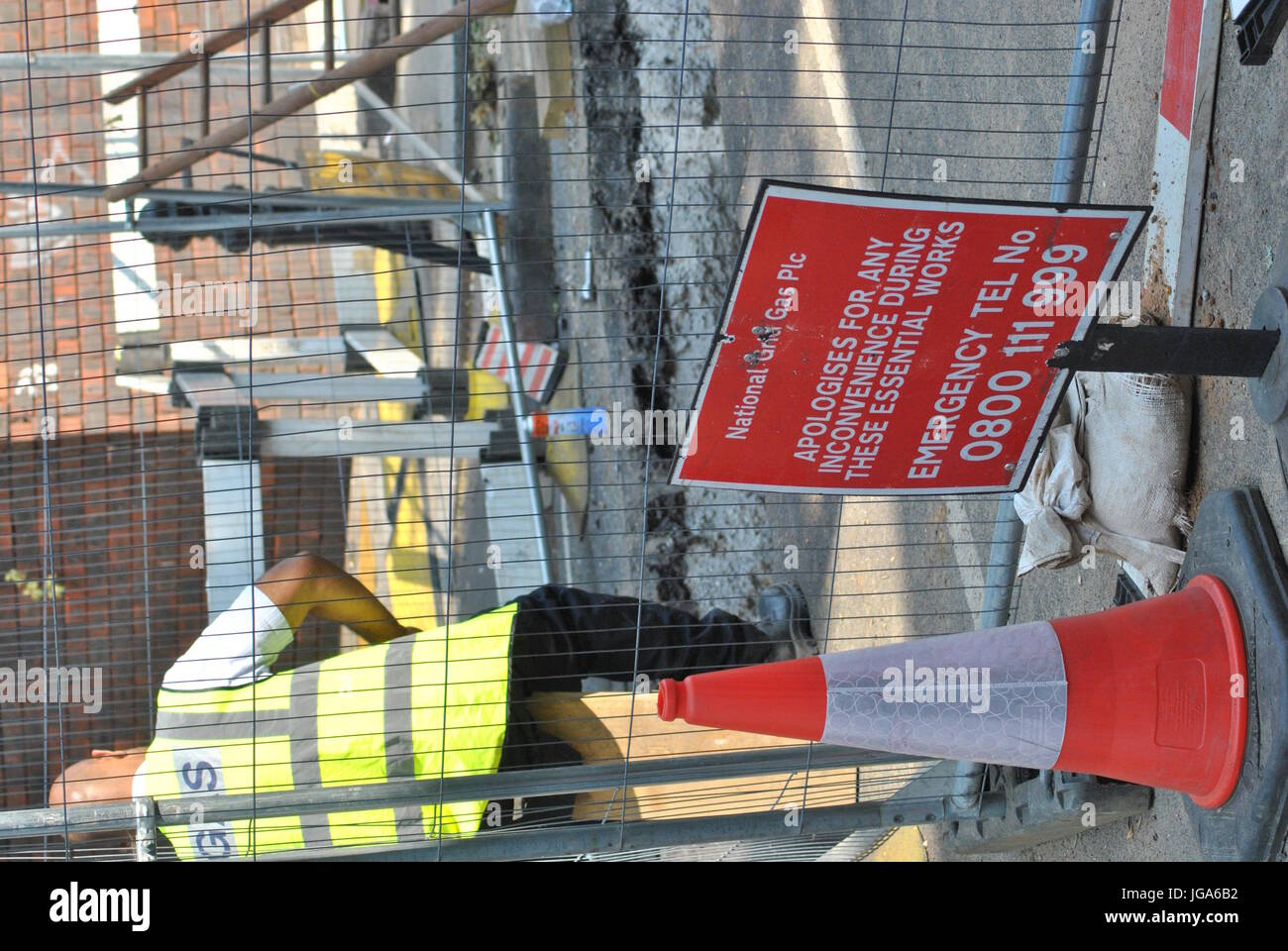 Grenfell Fire Disaster, nearby Gas repair work, Safety Checks, Grenfell Estate, London UK, 19th June, 2017 Credit - Stock Image