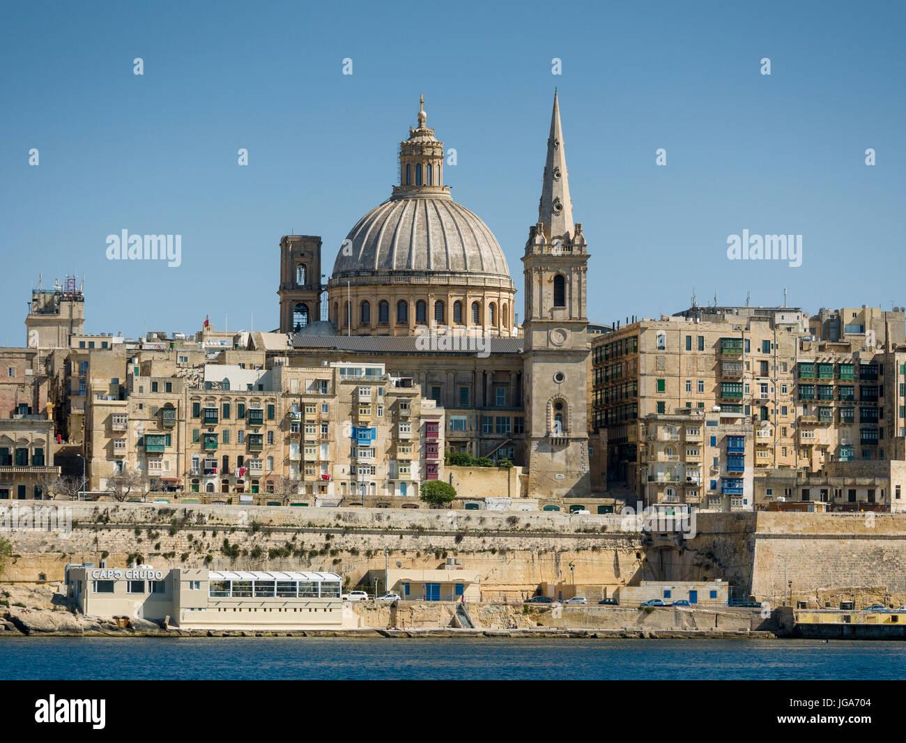 Malta: the Capital Valletta, as seen from the Marsamxett harbour - Stock Image