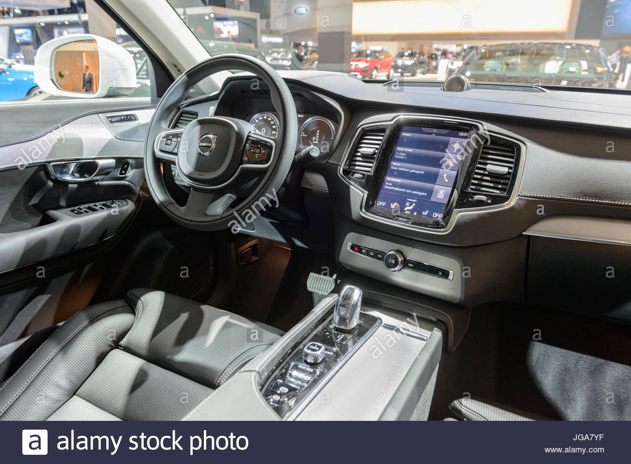 Interior on a Volvo XC90 mid-size luxury crossover SUV front view ...