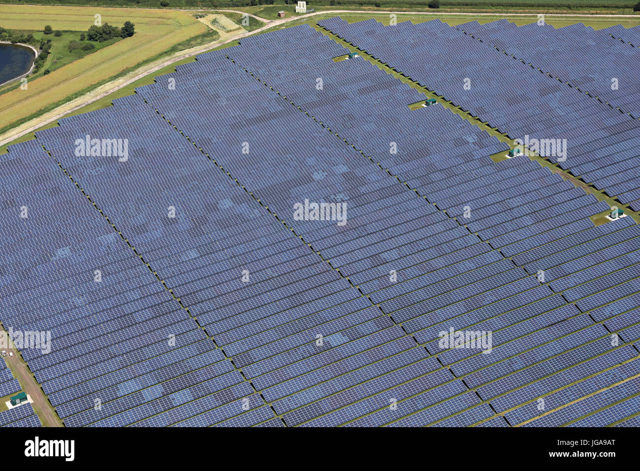 aerial view of a solar farm in Cheshire, UK - Stock Image