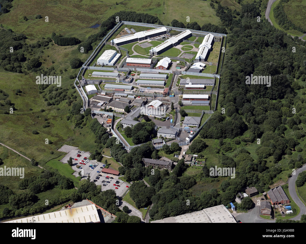 aerial view of HMP Buckley Hall, Rochdale, UK - Stock Image