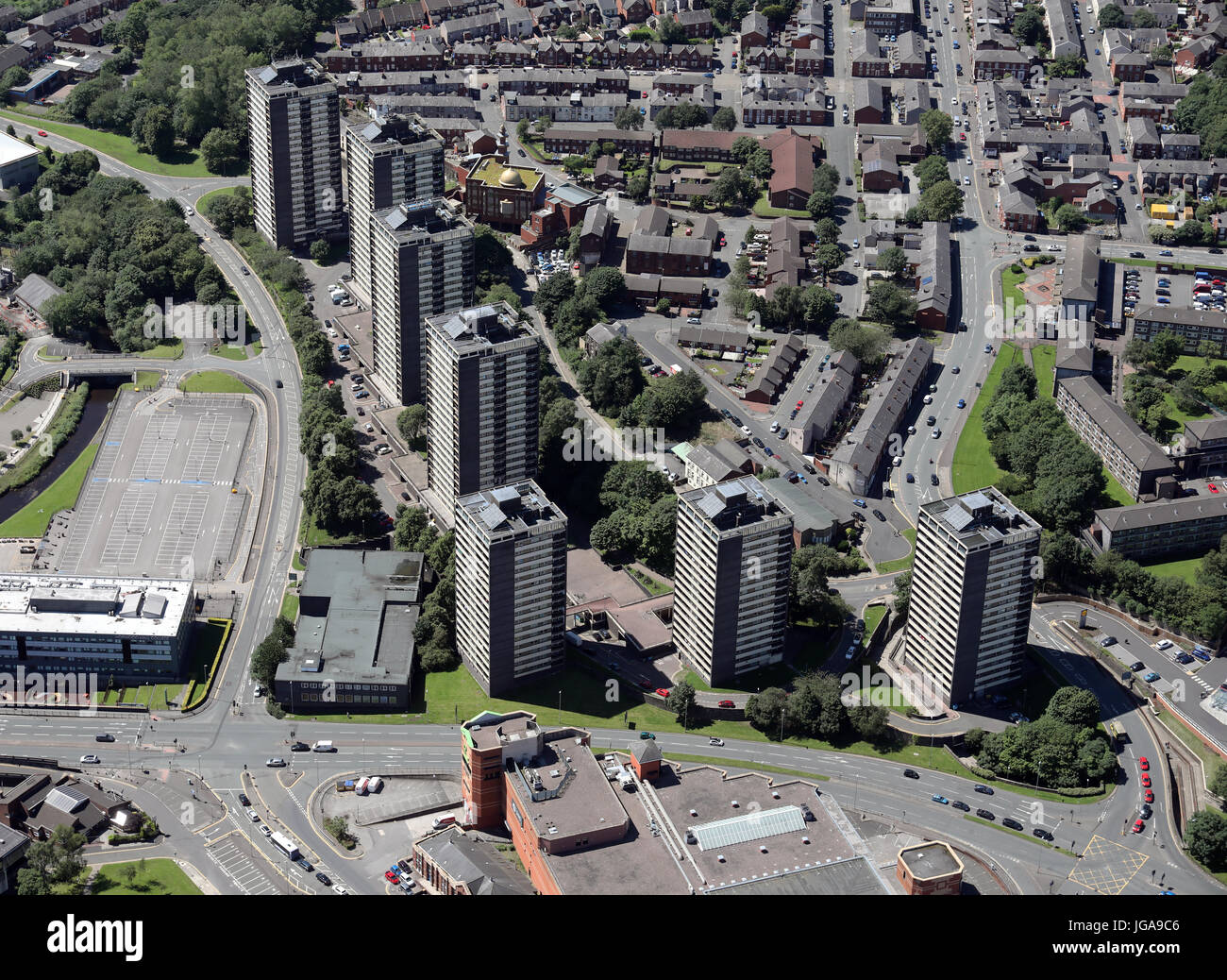 aerial view of the Seven Sisters Tower Blocks in Rochdale Town Centre, Lancashire, UK - Stock Image