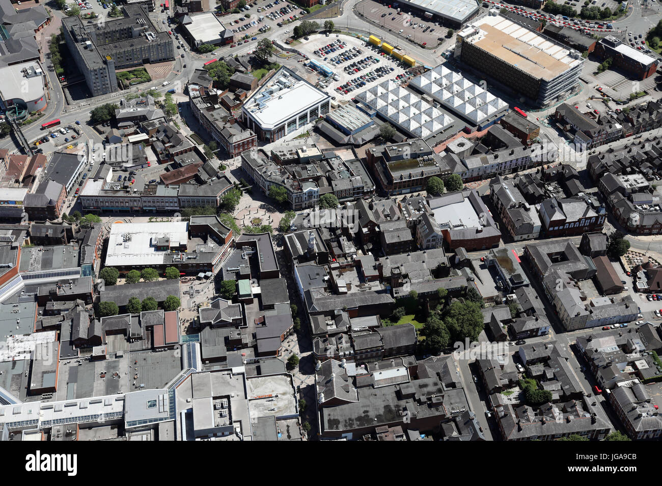 aerial view of Warrington town centre, Cheshire, UK Stock Photo