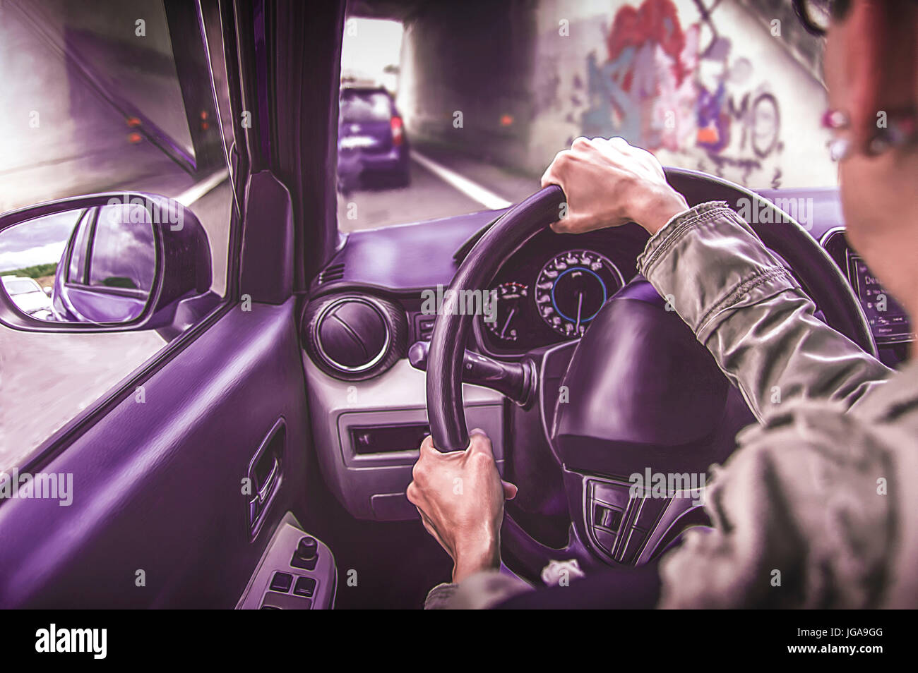 Woman driving a pink car on a busy road. Cartoon style Stock Photo