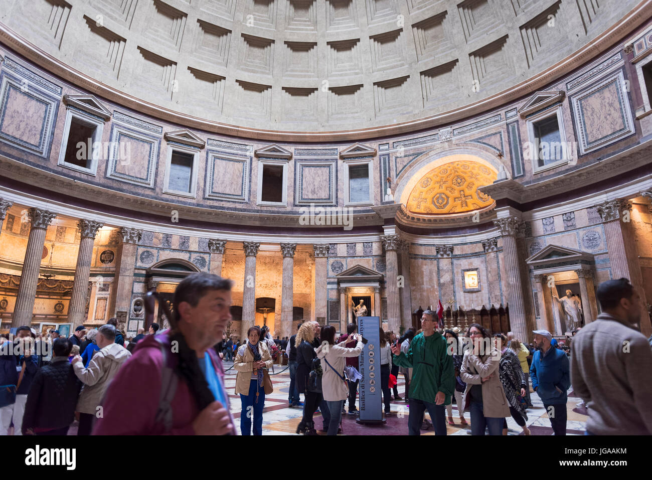 Rome, Italy - October 01, 2015. The Pantheon is an ancient Roman building located in the historic center. Tourists - Stock Image