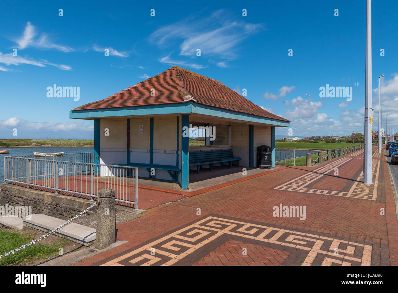 A shelter on the Esplanade at Fleetwood in Lancashire - Stock Image