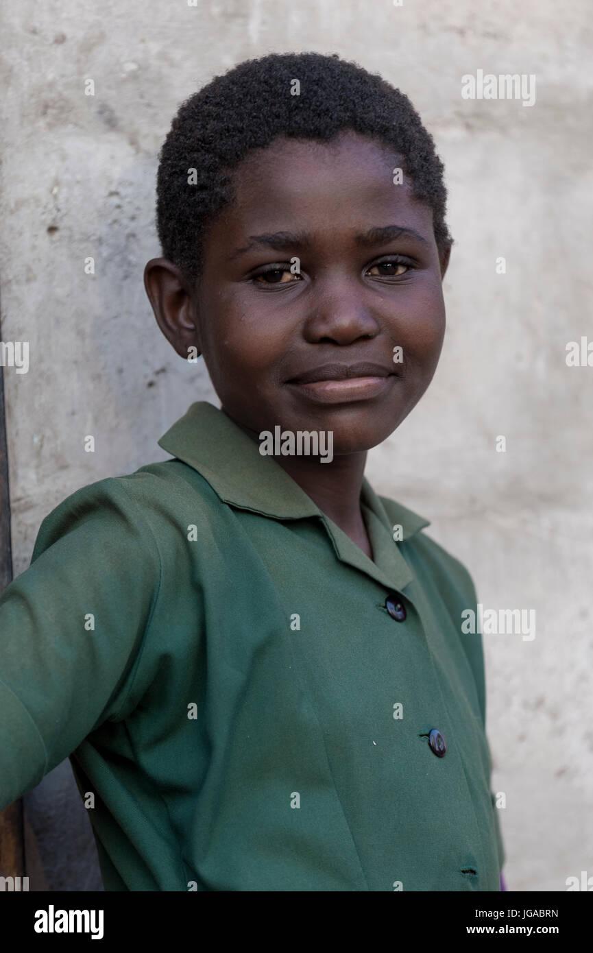 young girl in school uniform, maun botswana - Stock Image
