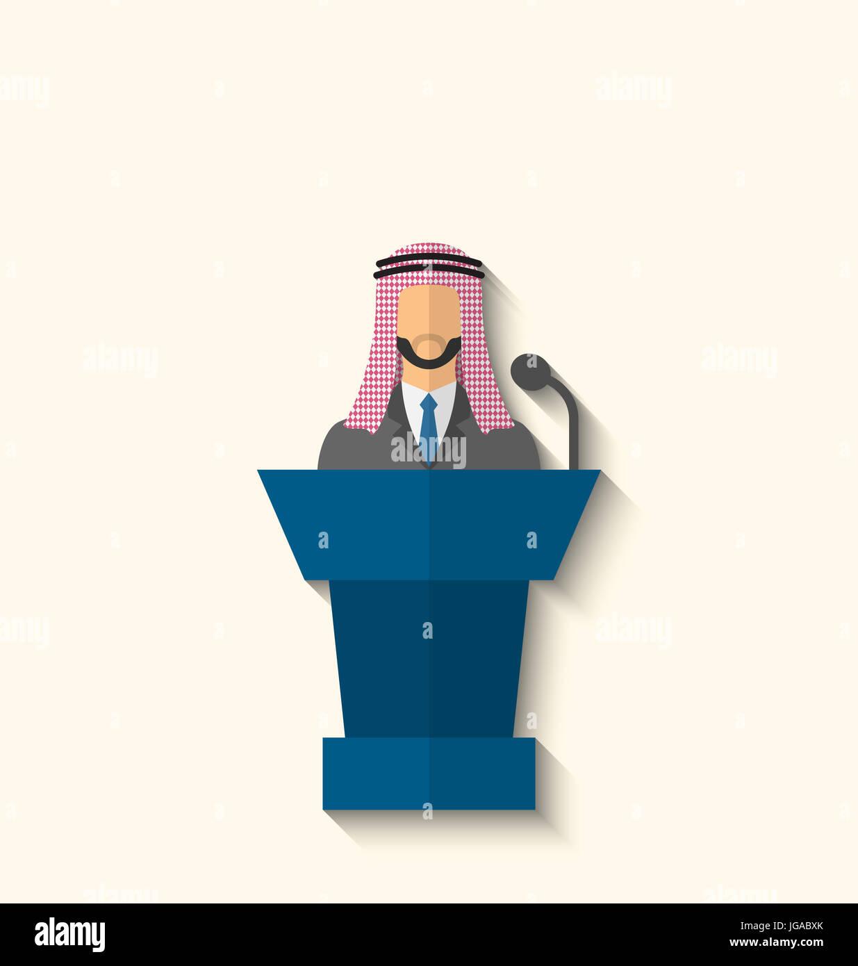International Leaders President Press Conference Arabic Flat  Illustration - Stock Image