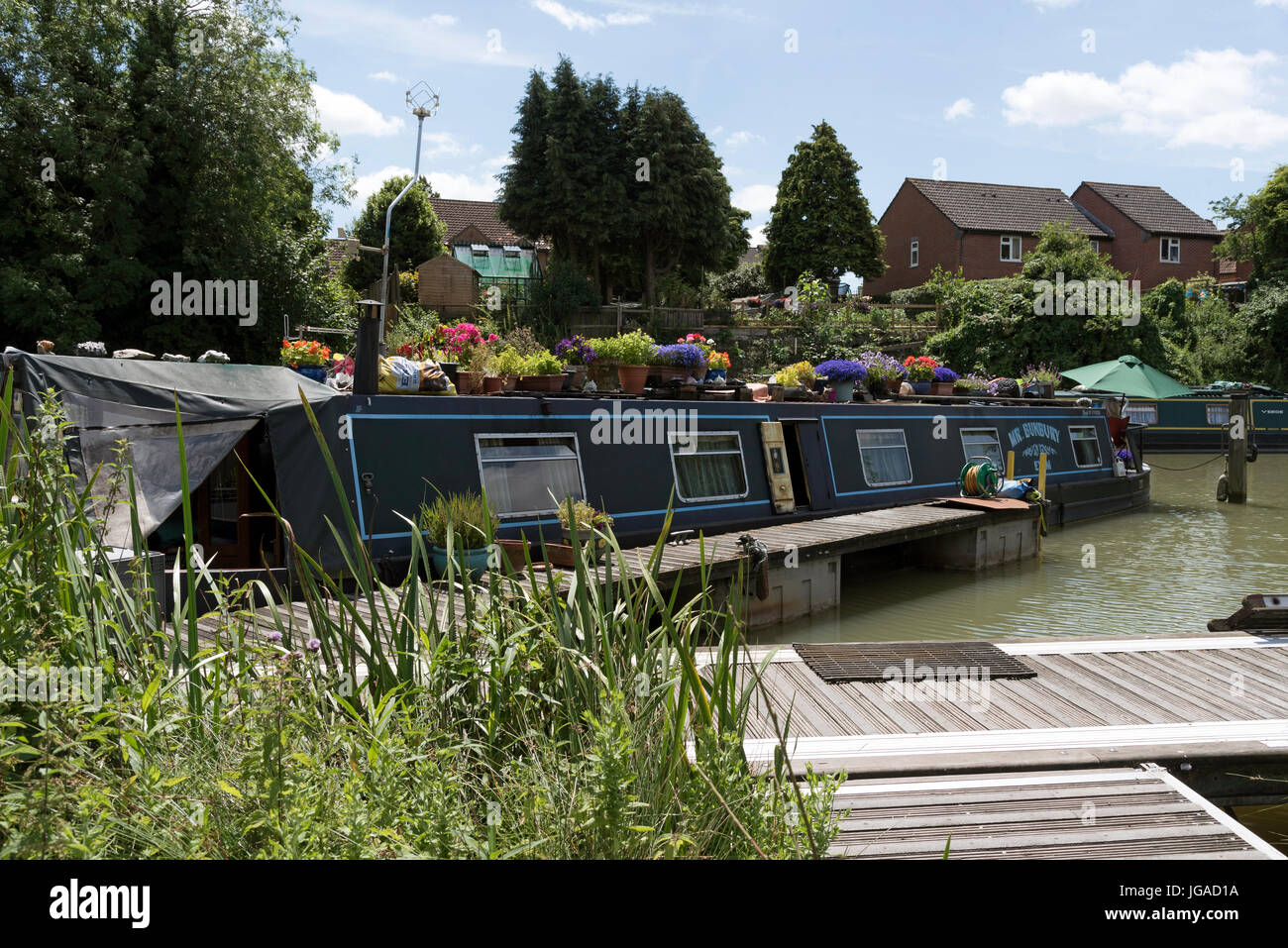 Caen Hill moorings on the Kennet & Avon Canal at Devizes Wiltshire England UK - Stock Image