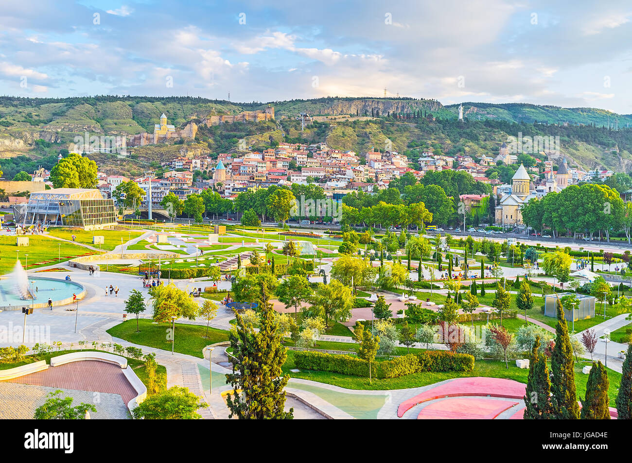 The Avlabari neighborhood boasts the picturesque Rike park, perfect place for family rest, enjoying landscaping, Stock Photo