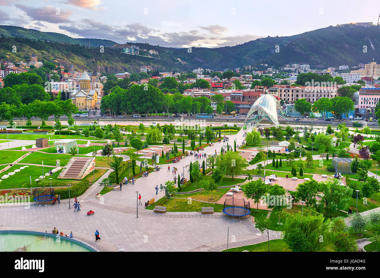 TBILISI, GEORGIA - JUNE 2, 2016: The Rike park is the central recreational area in old town, located on the bank Stock Photo