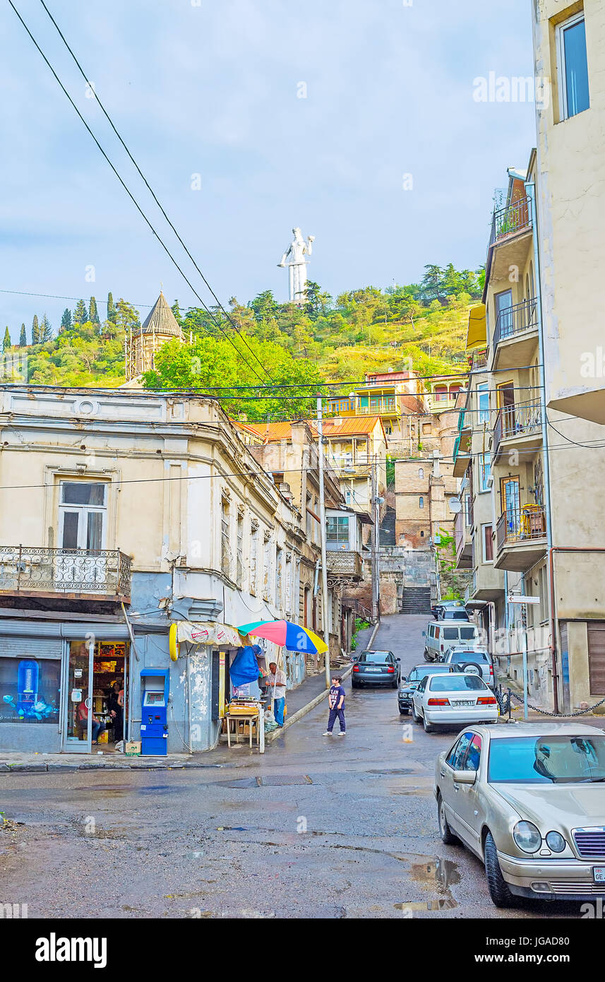 TBILISI, GEORGIA - JUNE 5, 2016: The streetscape of the old town, the ramshackle buildings along the Betlemi street, Stock Photo