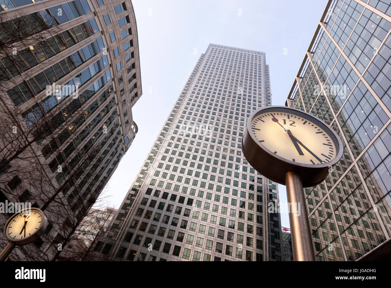 Six Public Clocks, One Canada Square, Canary Wharf,  business district, London, UK - Stock Image