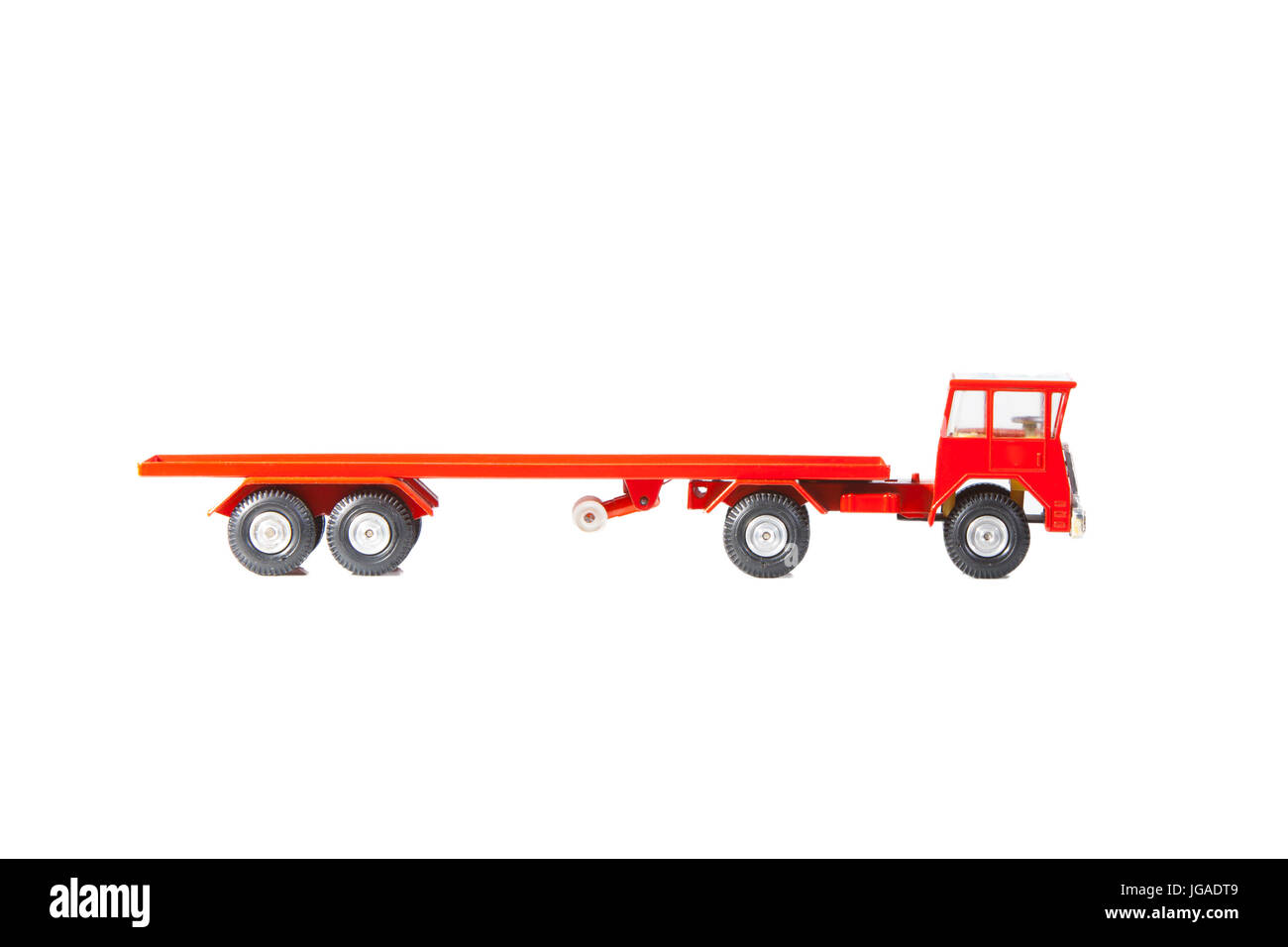 Red empty Toy Truck with Trailer - Stock Image