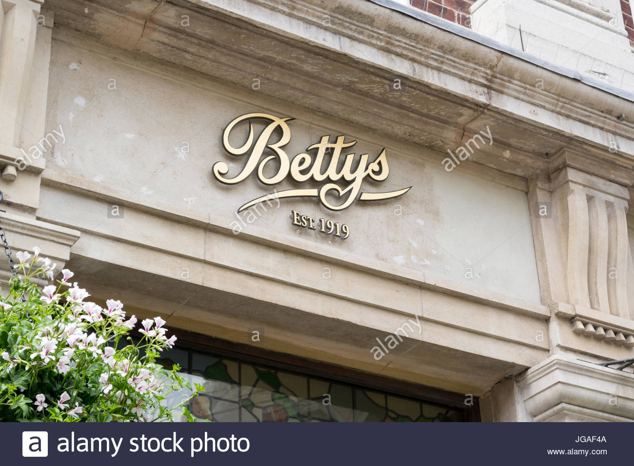 Bettys Tea Room Shop Sign, York, England, UK Stock Photo