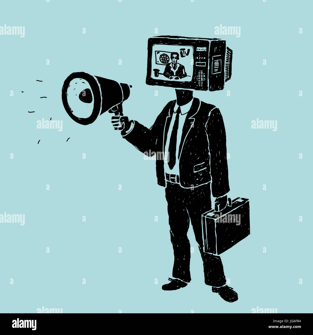 Propaganda by TV and Loudspeaker - Stock Image