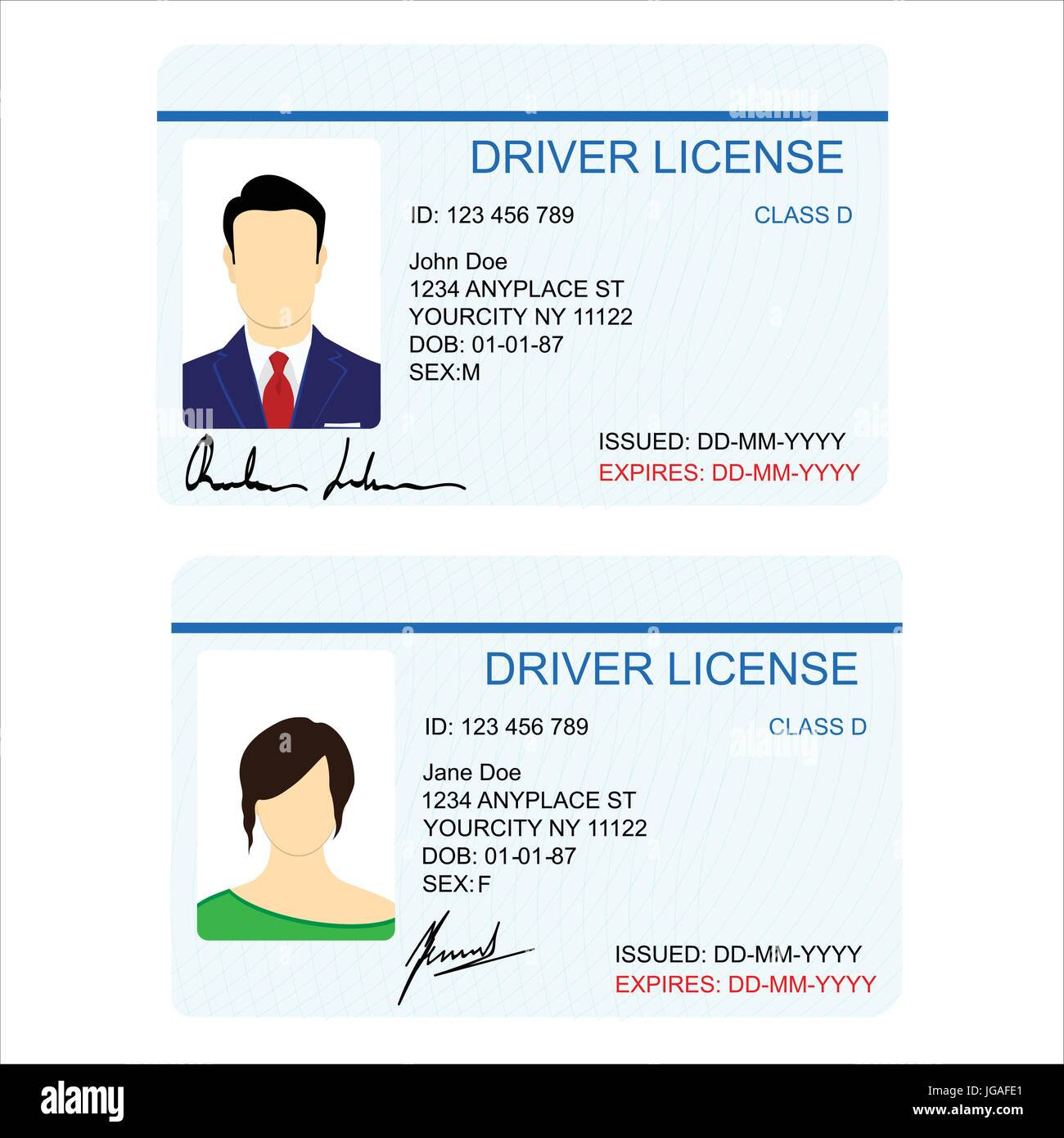 vector illustration man and woman driver license card template stock