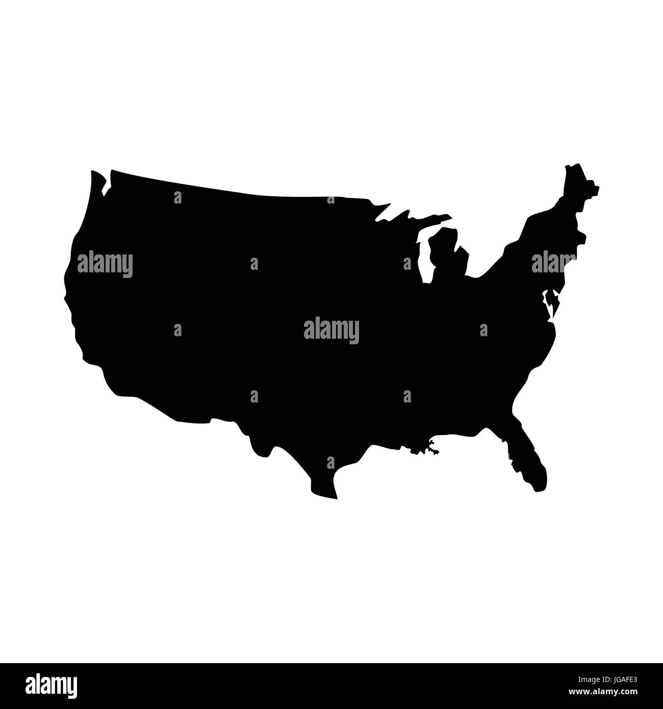 Vector illustration black silhouette map of United States of America ...