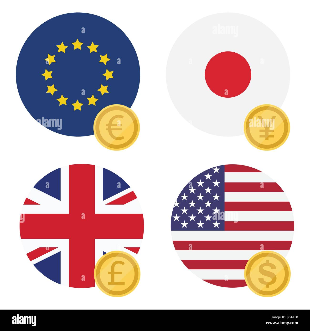Vector Illustration One Euro Dollar Pound And Yen Currency Symbol