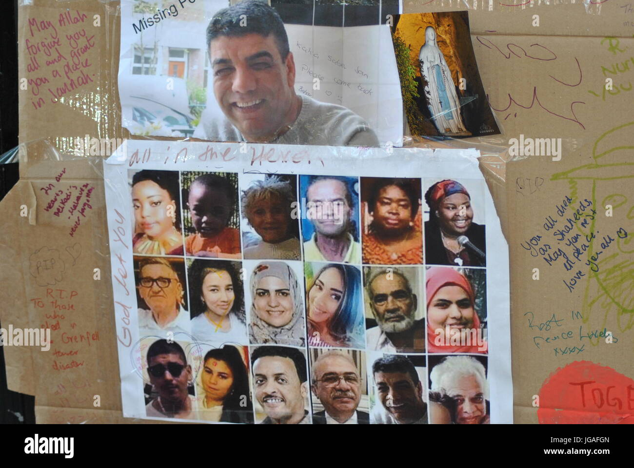 The Missing Posters from the Grenfell Tower Fire Disaster, London which occurred 14th June, 2017. - Stock Image
