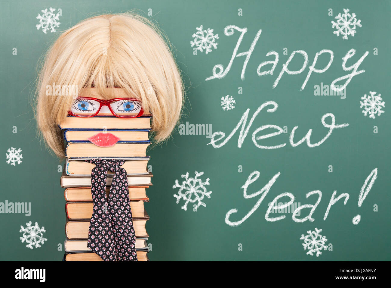 happy new year funny education idea with women teacher