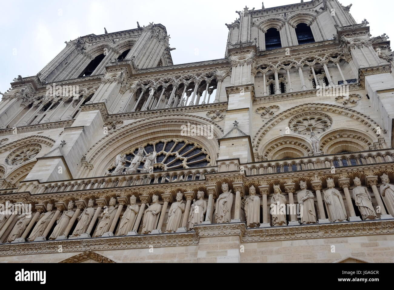 Outside Notre Dame Cathedral in Paris - Stock Image