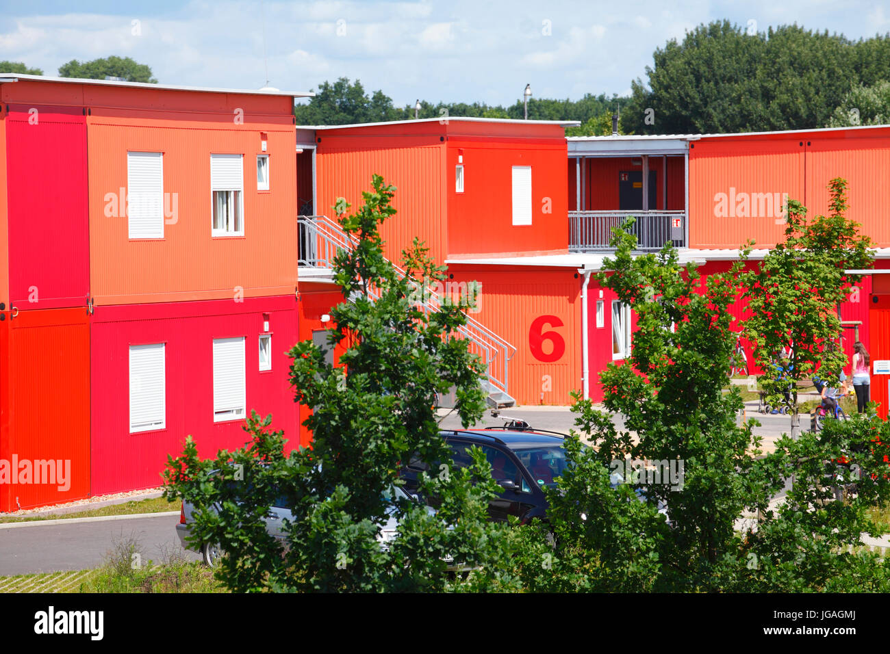 refugee hostel or accommodation in colorful Container, Bremen, Germany, europe  I Übergangswohneinrichtung - Stock Image