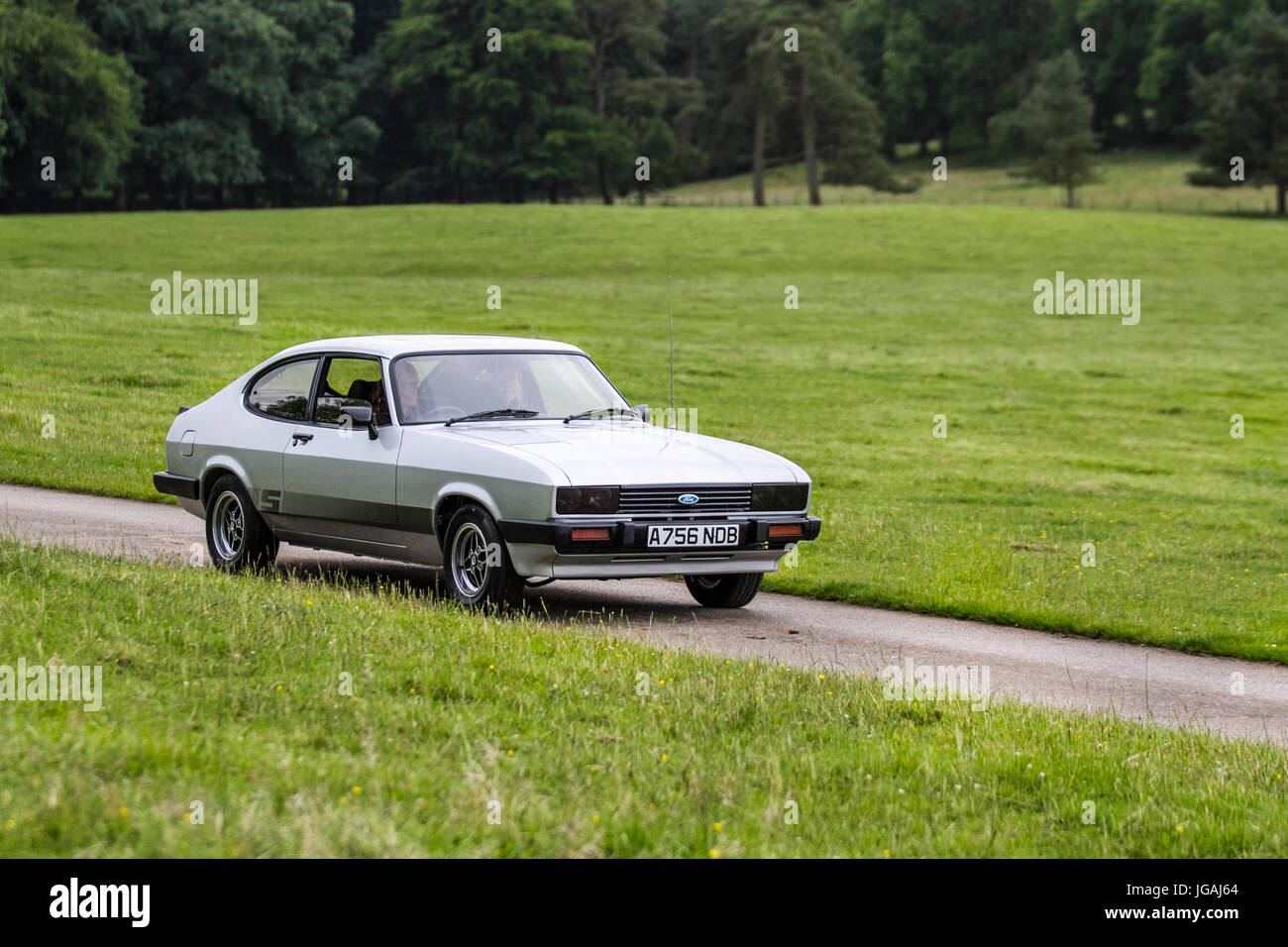 1984 Ford Capri S 5spd_Classic, collectable restored vintage vehicles arriving for the Mark Woodward Event at Leighton - Stock Image