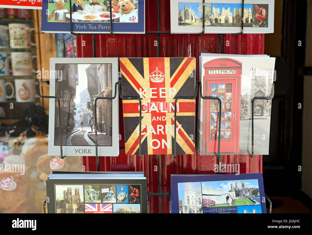 Postcards in rack York North Yorkshire England UK United Kingdom GB Great Britain - Stock Image
