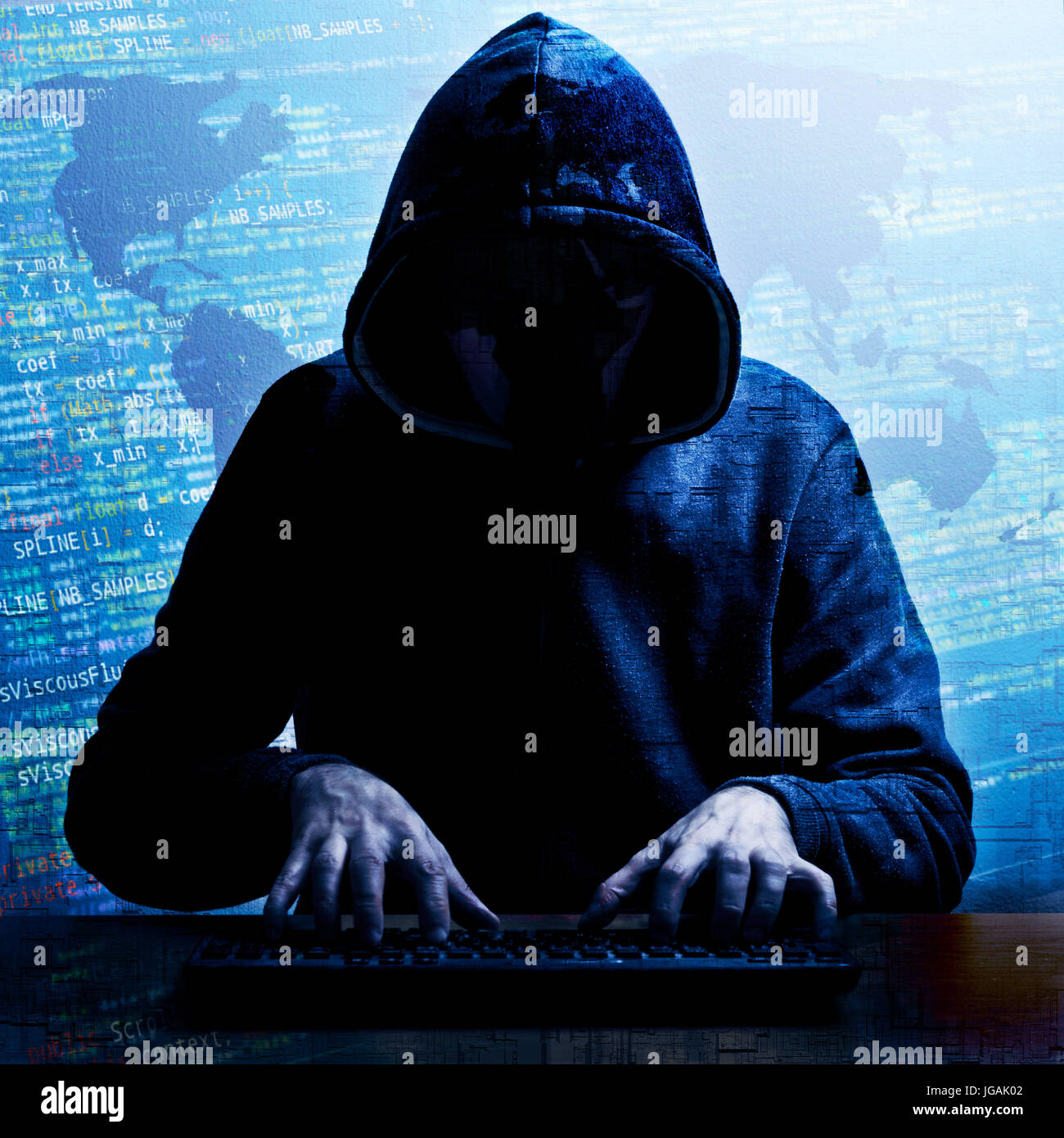 global hacking activity concept - Stock Image