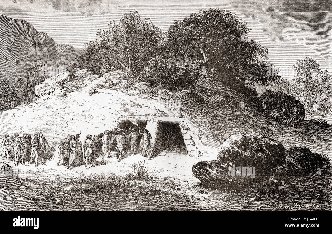 A tumulus, aka  barrow, burial mound or kurgan,  a mound of earth and stones raised over a grave or graves during - Stock Image