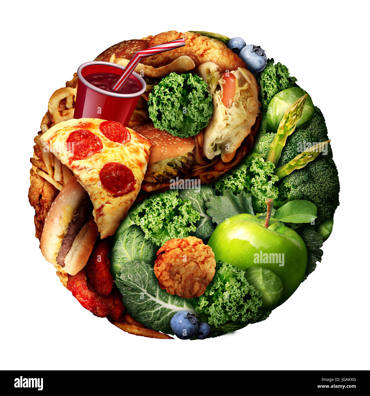 Nutrition and diet balance as a choice between good green natural food and unhealthy processed snacks shaped as - Stock Image
