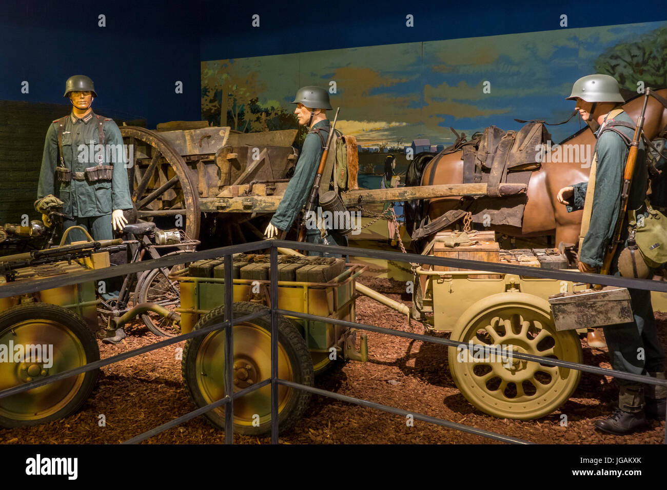 Diorama showing German army transport with carts at the Memorial World War II Museum at Quinéville, Manche, - Stock Image