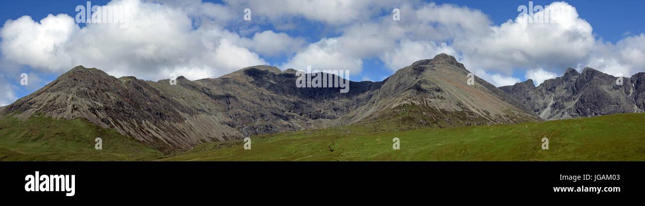 Black Cuillin, seen from Glen Brittle / Glenbrittle on the Isle of Skye, Scottish Highlands, Scotland, UK - Stock Image