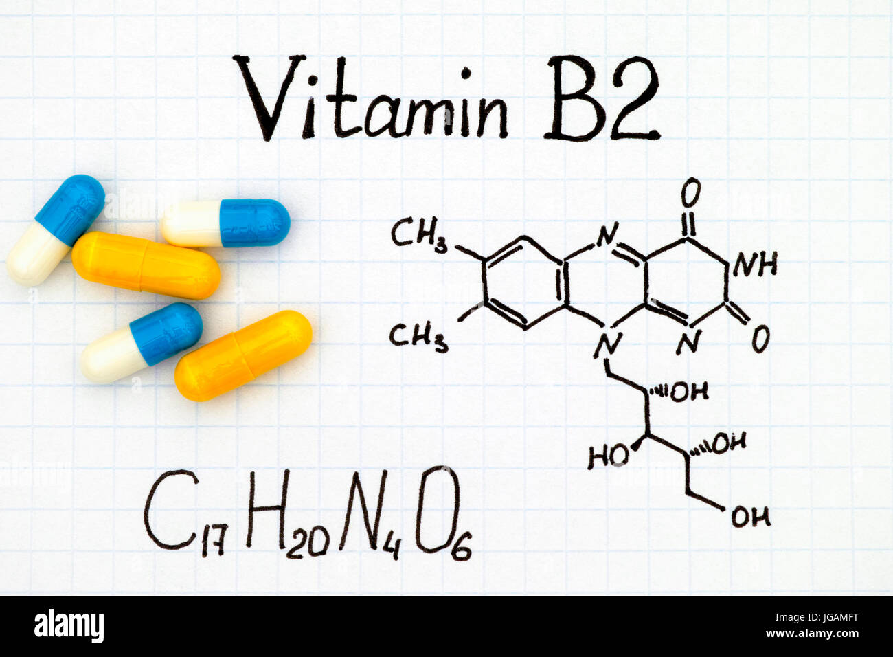 Chemical formula of Vitamin B2 and pills. - Stock Image
