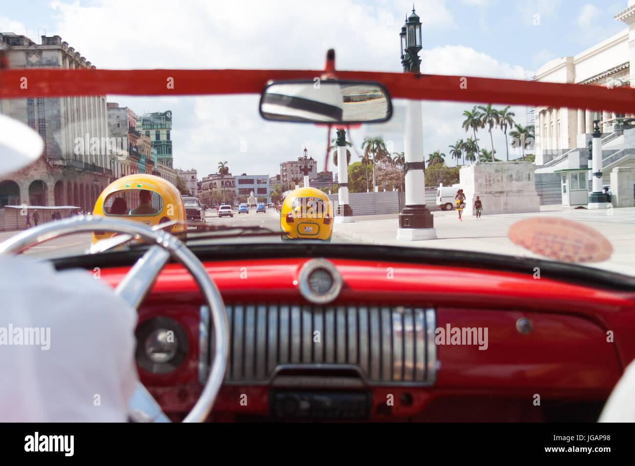 Ride inside old American classic car in Havana, Cuba Stock Photo ...