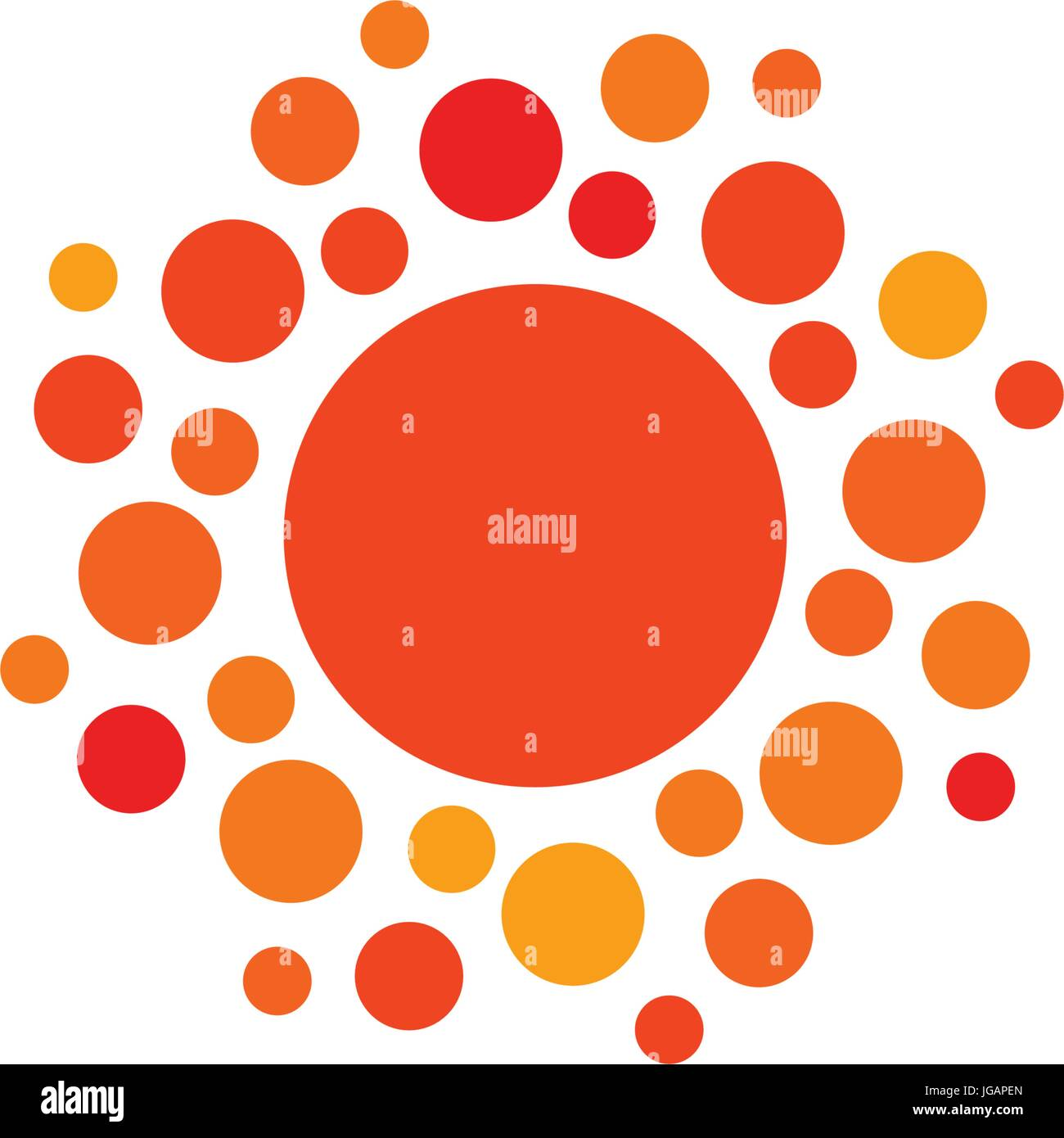 Sun orange color abstract simple icon. Rounded sunny circle shape. Summer day symbol and vector logo. - Stock Vector