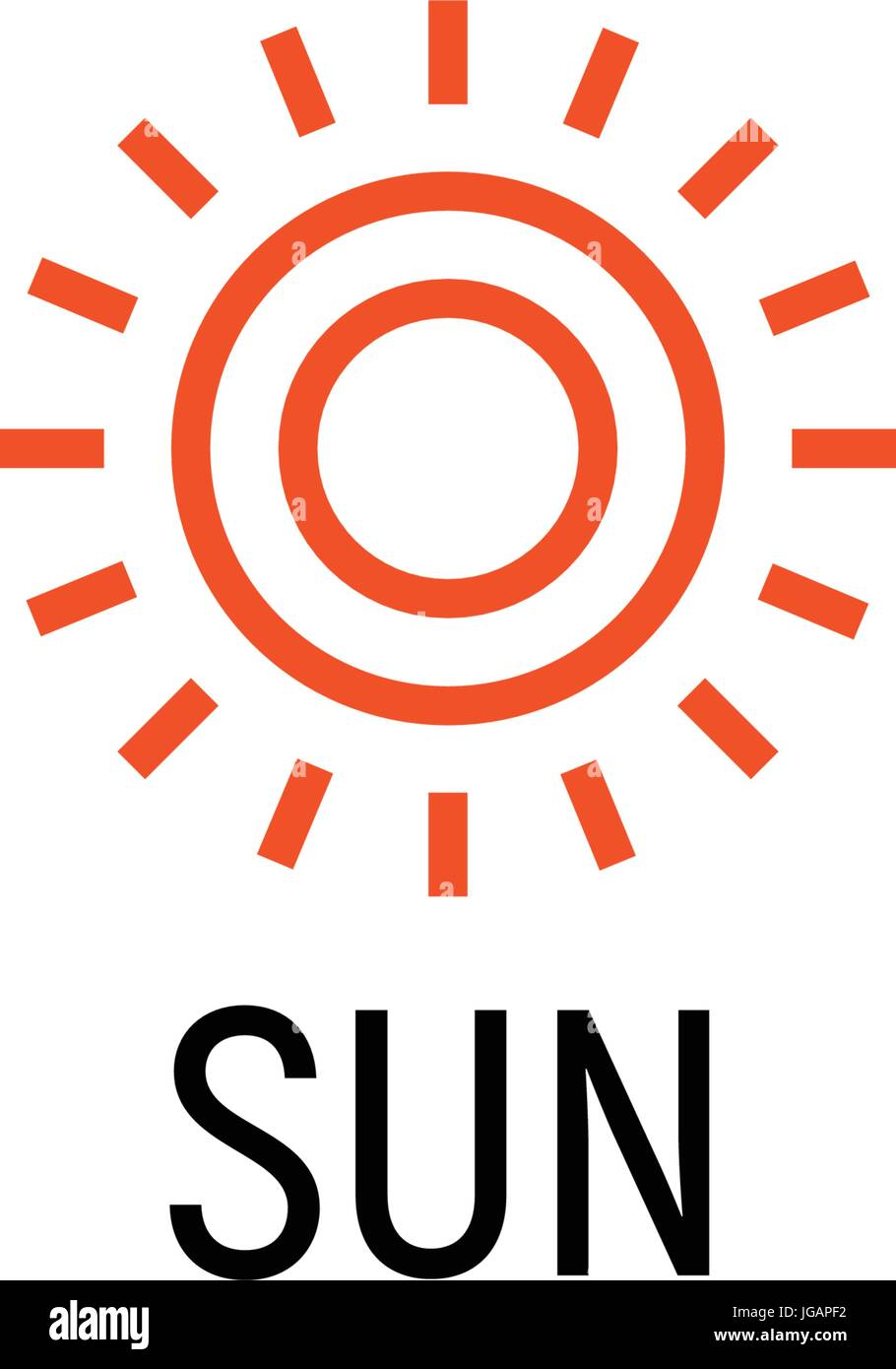 Sun orange color abstract simple icon. Outline sunny lineart shape. Summer day symbol and vector logo. - Stock Vector