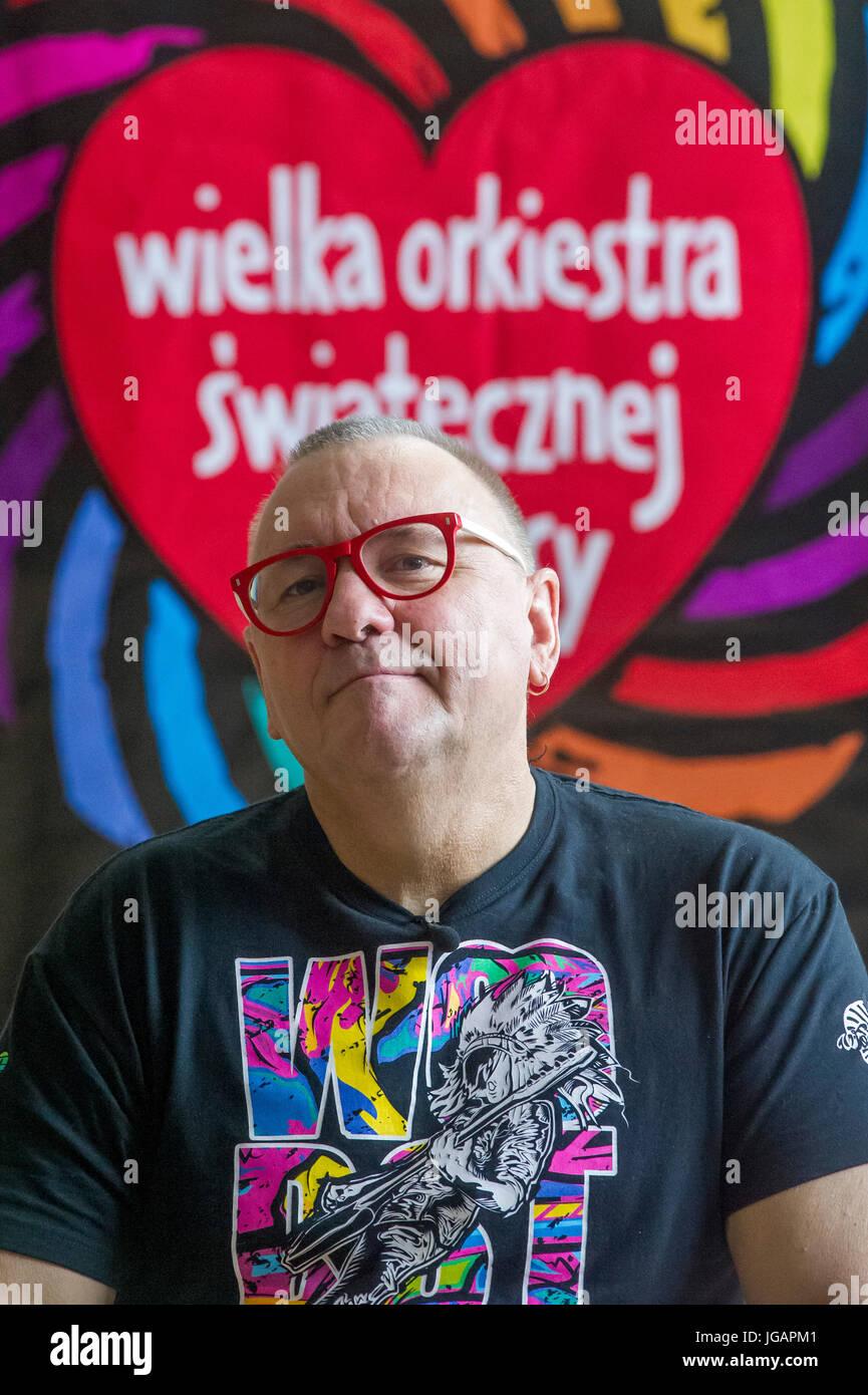 Jurek Owsiak, president of The Great Orchestra of Christmas Charity (Wielka Orkiestra Swiatecznej Pomocy WOSP) the - Stock Image