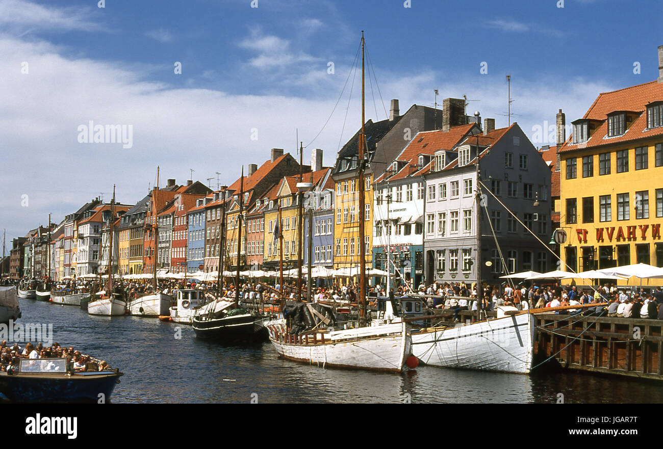 Nyhavn, Copenhaga, Dinamarca, 1999 - Stock Image