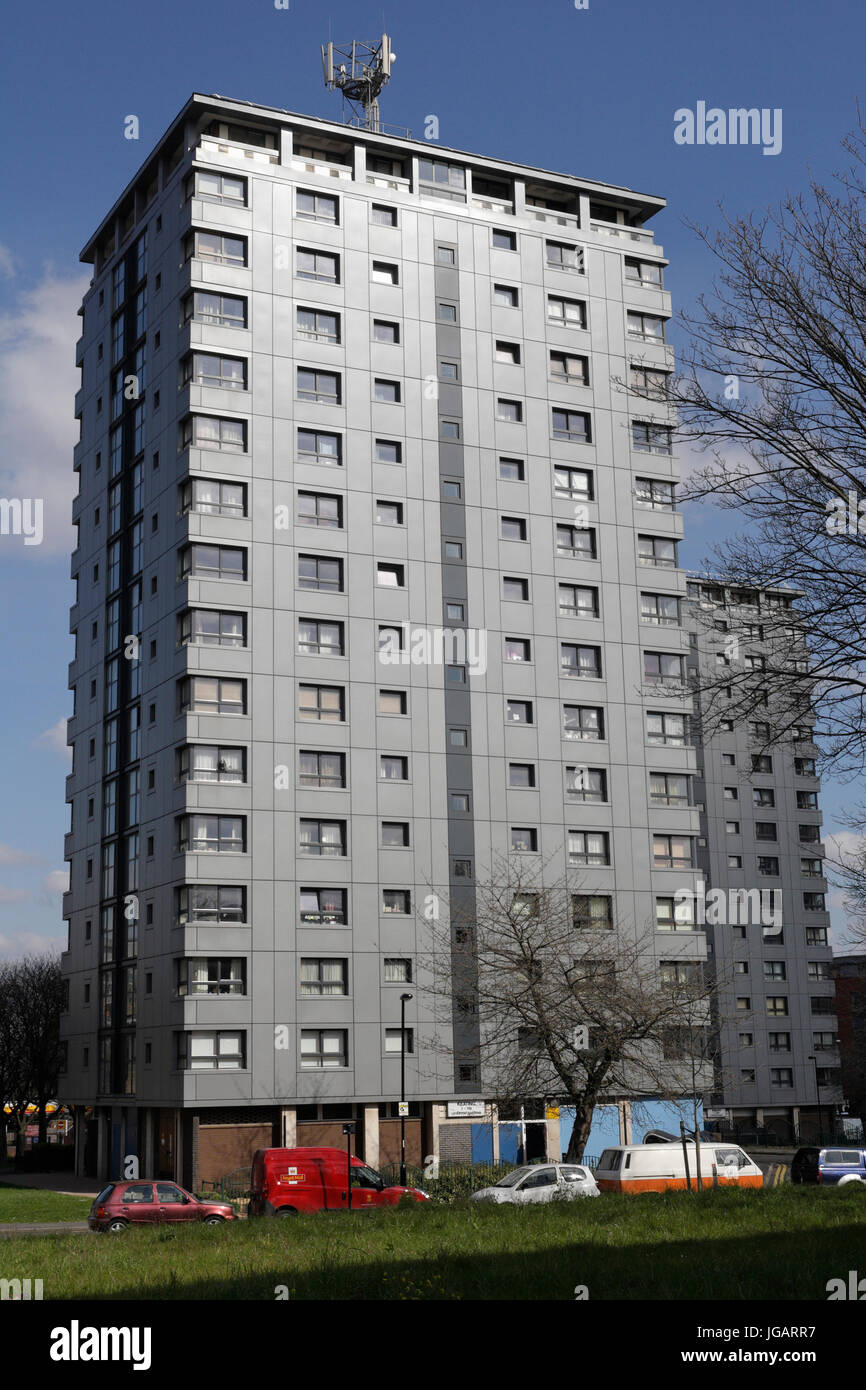 Residential tower block with cladding in Sheffield England UK - Stock Image