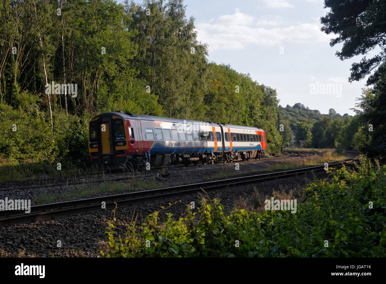 East Midlands Trains class 158 DMU near Dore, Sheffield, UK - Stock Image