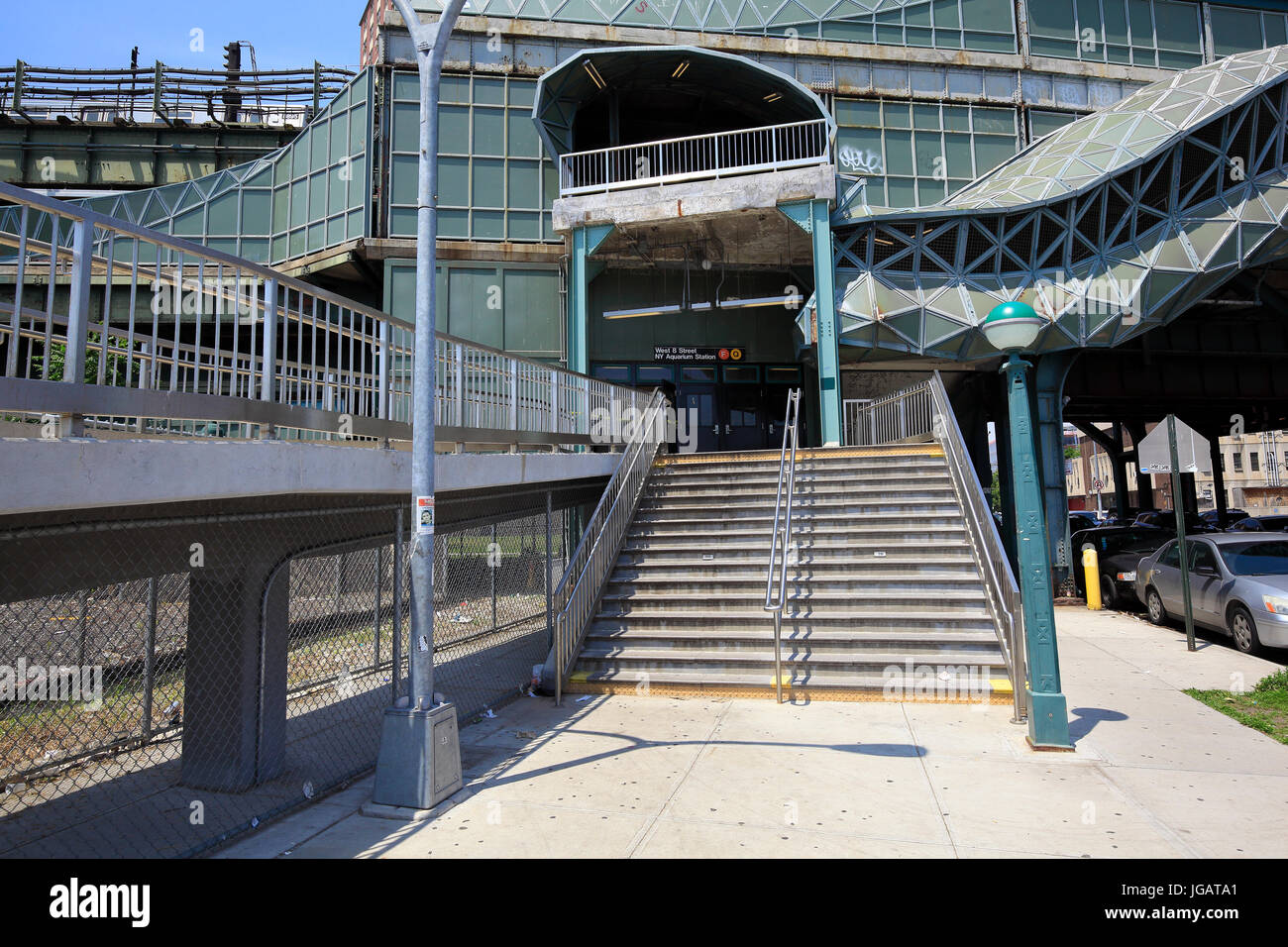 Elevated subway station in Coney Island New York - Stock Image