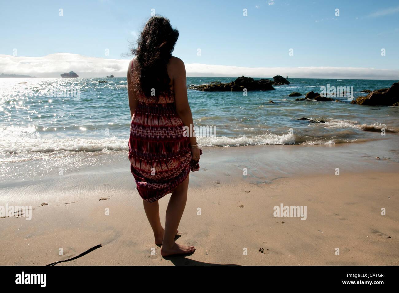Caleta Abarca Beach - Vina Del Mar - Chile - Stock Image