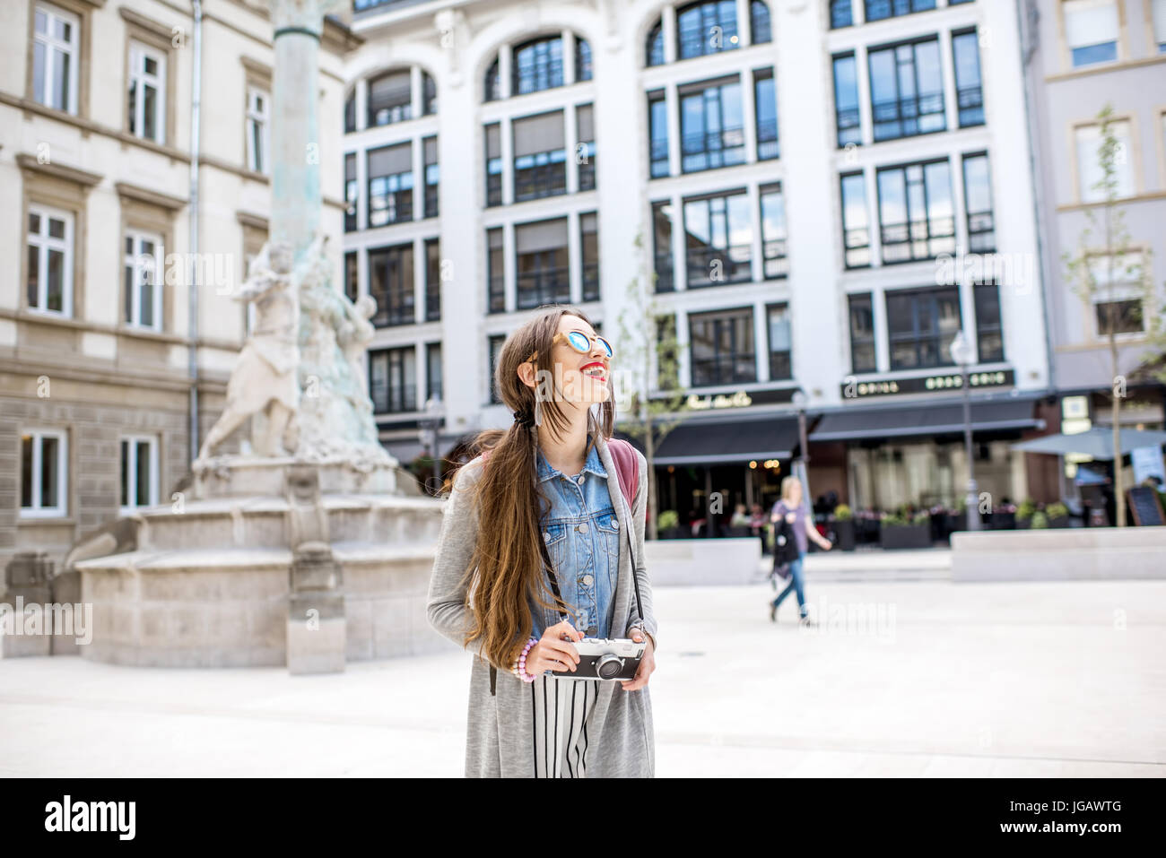 Woman traveling in Luxembourg - Stock Image