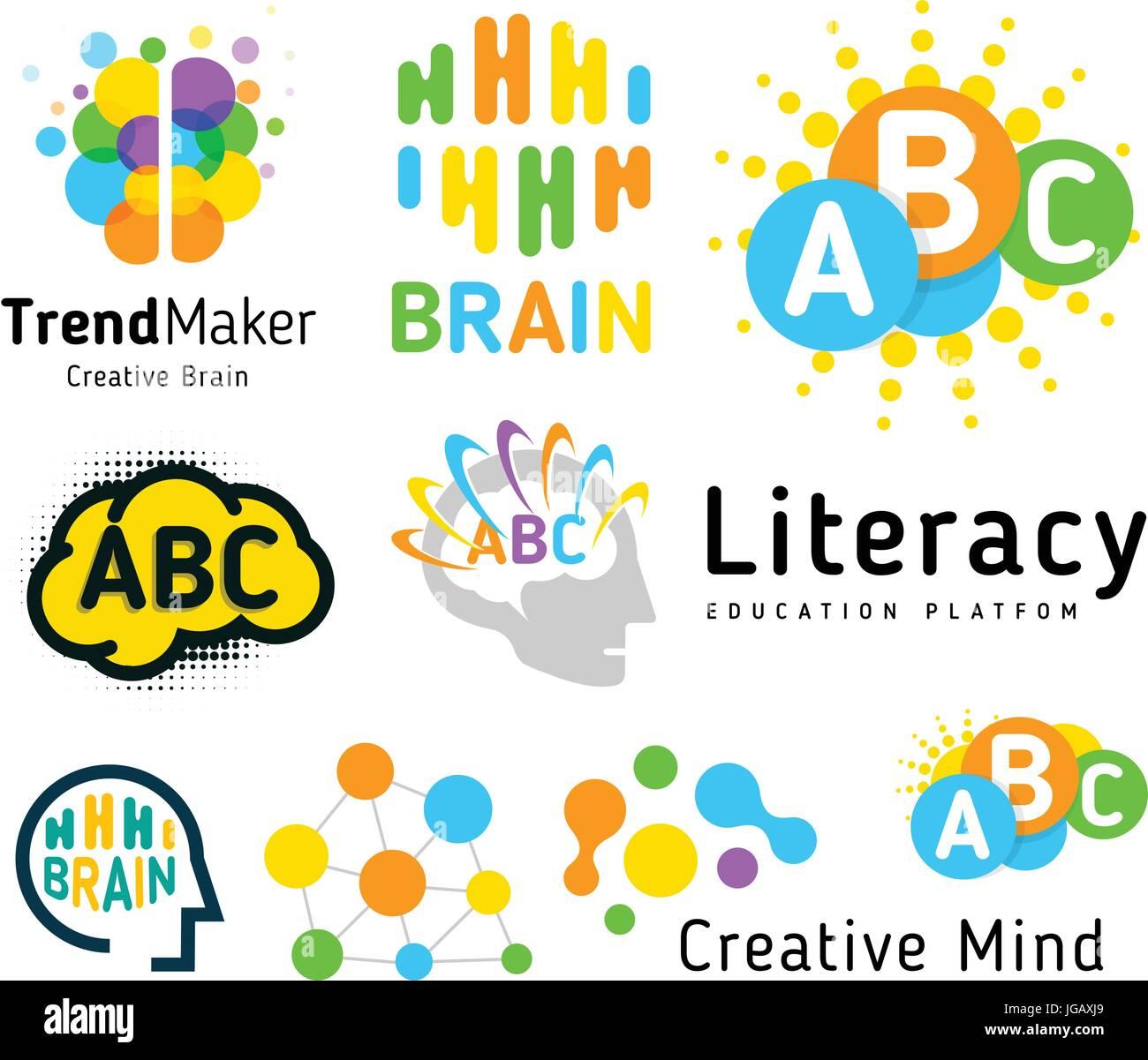 Creative brain. Genius school. Human development. Skill up. Linear vector logo set. - Stock Image