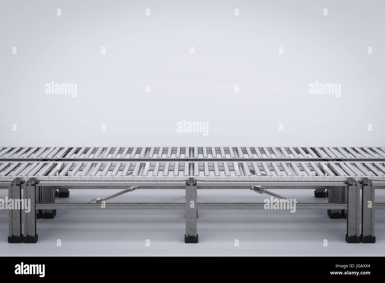 3d rendering empty conveyor belt - Stock Image