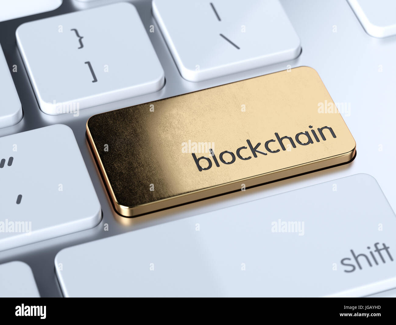 Golden blockchain service sign button on white computer keyboard. 3d rendering concept - Stock Image