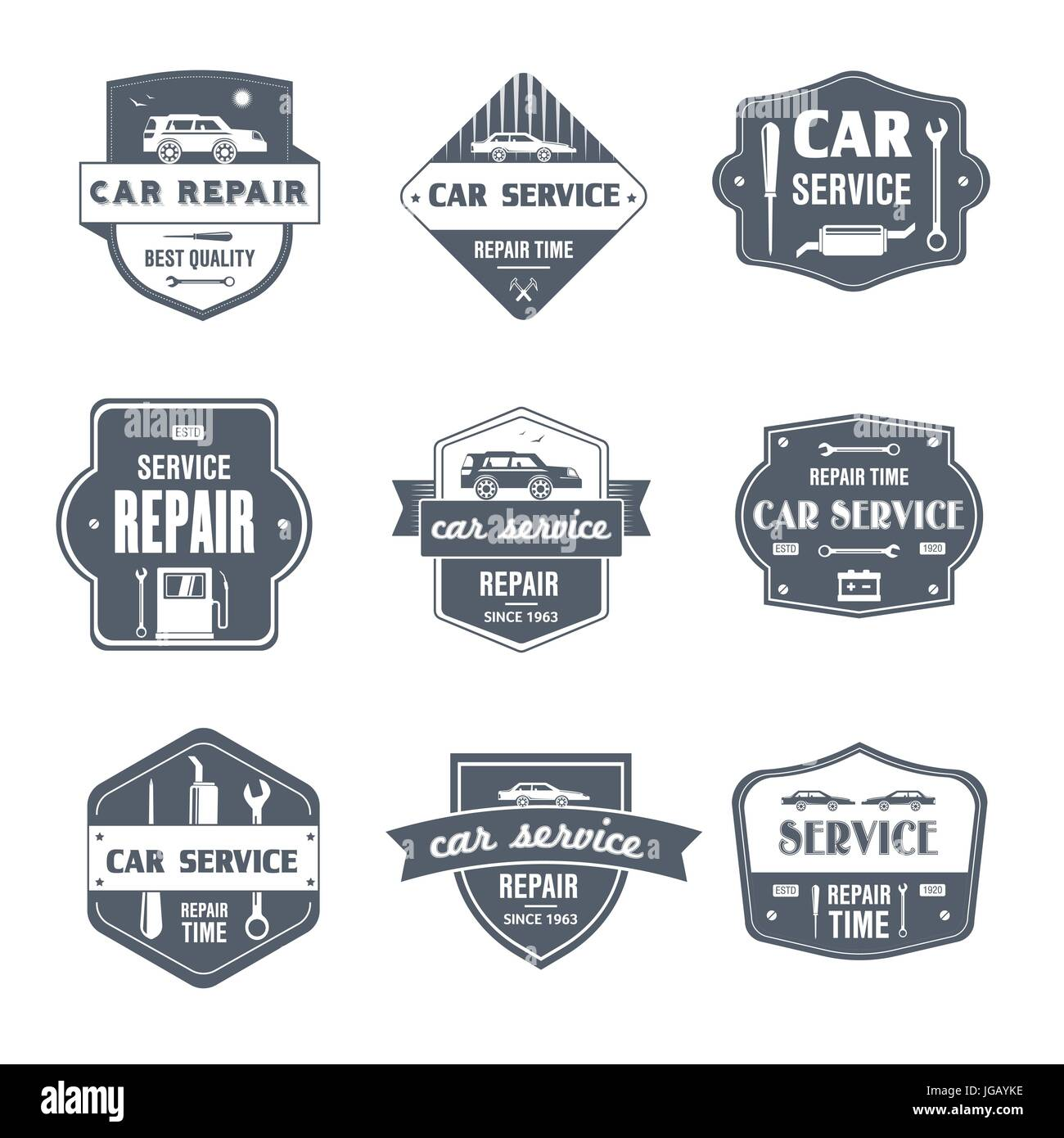 Car Repair - vector set of vintage template logo insignias  Old